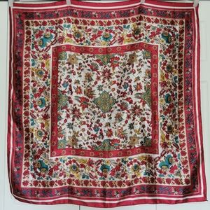 Vintage 100% silk floral scarf made in Singapore